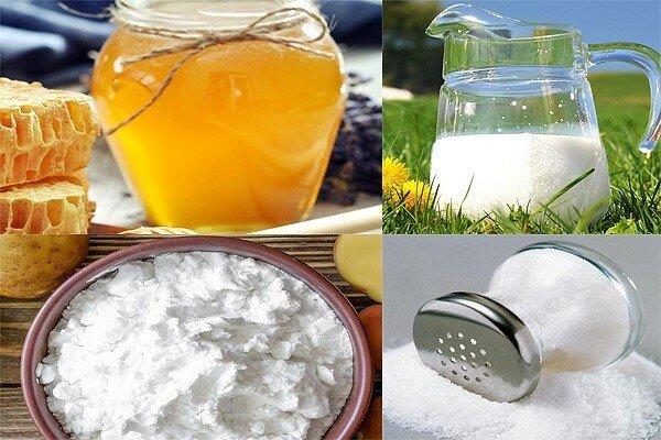 Питающая и увлажняющая маска для увядающей кожи из крахмала, молока и соли