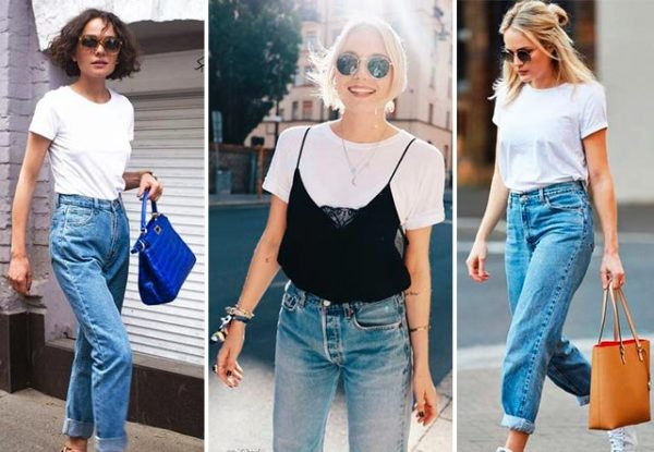 Белая футболка и джинсы